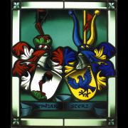 Allianzwappen schattiert -Wappenscheibe -Glasmalerei-Bleiverglasung -Heraldik