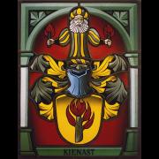 Familienwappen Kienast schattiert -Glasmalerei-Bleiverglasung-Wappenscheibe