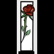 Glasstele Rose-rot -Glasmalerei-Bleiverglasung-Glasdesign