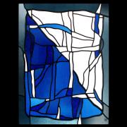 Wappenscheibe Flagge Zürichs in moderner Glasmalerei Bleiverglasung-Glasdesign