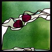 Zwei Körper im Strom : Glaskoposition verbleit Glas-Design- Glasmalerei- Bleiverglasung- Glaskunst