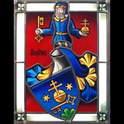 Familienwappen Kuster schattiert -Glasmalerei-Bleiverglasung-Wappenscheibe